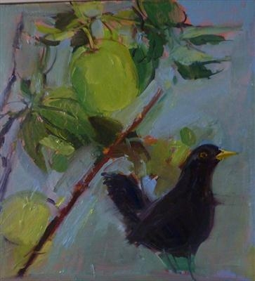 black bird and crab apples
