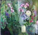 Hannahs orchids by Chloe Mandy, Painting, Oil on canvas