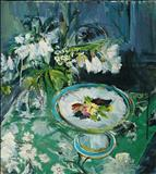 White mallow, and tea cake platter by chloe Mandy, Painting, Oil on canvas