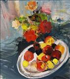 apples on platter with roses by chloe Mandy, Painting, Oil on canvas