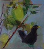 black bird and crab apples by Chloe Mandy, Painting, Oil on Board