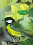 blue tit, dusk white rose by Chloe Mandy, Painting