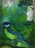 blue tit, dusk white rose by Chloe Mandy, Painting, Oil on Board