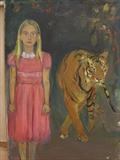 girl with tiger by Chloe Mandy, Painting, Acrylic and charcoal on canvas