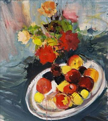 apples on platter with roses
