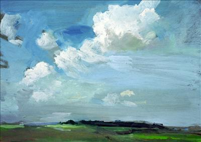 clouds over Morston by chloe Mandy, Painting, Oil on Board